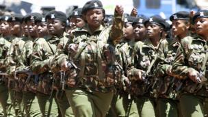 Kenyan female soldiers marching in a stadium Nairobi, Kenya - Sunday 20 October 2013
