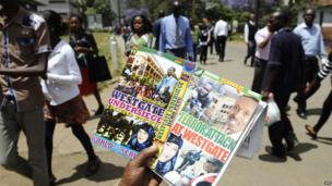 The covers of DVD movies about last month's Westgate siege for sale in Nairobi, Kenya - Wednesday 23 October 2013