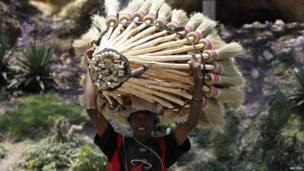 A broom vendor with his wares on his head in Antananarivo, Madagascar - Thursday 24 October 2013