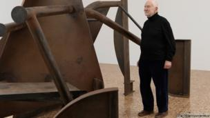 Sir Anthony with his Shadows structure at the Royal Academy