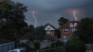 Lightning hits two houses. Photo: Matt Kiddell