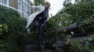Man jumping over tree