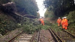 Engineers clear a fallen tree from a railway line at Dorchester