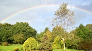 Rainbow after the storm in Woodside Park, Lymington