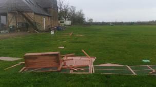 Destroyed rabbit hutch
