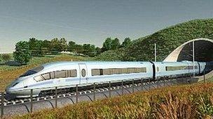 Mock-up image of HS2 train