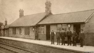 Norham Station staff pictured in the early 20th Century