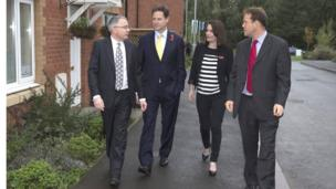 Deputy Prime Minister Nick Clegg and Welsh Liberal Democrat leader Kirsty Williams went to a new sustainable housing development being built on the site of the former Llanwern steelworks near Newport