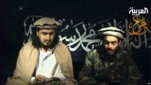 An image from a videotape broadcast in January 2010 shows Jordanian suicide bomber Humam Khalil Abu-Mulal al-Balawi reading a statement as he sits next to Taliban leader Hakimullah Mehsud. Balawi killed seven CIA agents and his Jordanian handler