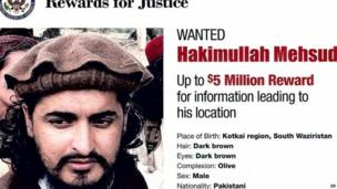 Hakimullah Mehsud on a US State Department Wanted poster