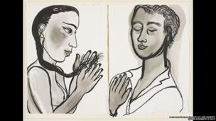 Eileen Cooper RA, Two portraits from the Couples series, 2011