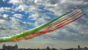 The Italian Air Force aerobatic unit Frecce Tricolori fly over Rome