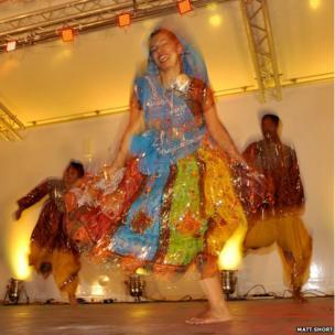 Colourful dancer at Diwali celebrations