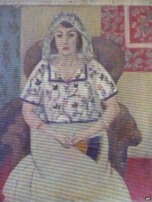 A painting by Henri Matisse, Seated Woman, unveiled by the German authorities in Augsburg, 5 November