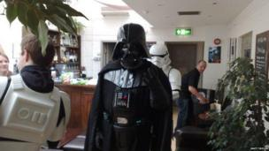 Star Wars characters in bar for Make A Wish Foundation Event