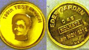 This gold coin embossed with Tendulkar's face will be used in the toss for India's Test match against West Indies