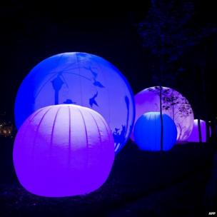 Spheres illuminated in an installation in the framework of the Mexican International Festival of Lights in Mexico city.