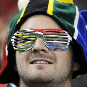A South African rugby supporter wearing sunglasses
