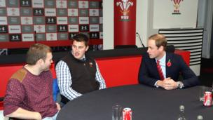 The Duke of Cambridge meets injured rugby players