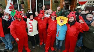 Wales fans outside the Queens Vaults pub