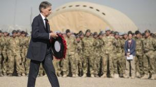Defence Secretary Philip Hammond joined soldiers of the 7th Armoured Brigade The Desert Rats in Camp Bastion.