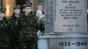 Members of Scotland's armed forces and veterans gathered to pay respect at Fort William