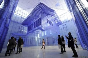 Home within Home by artist Suh Do-Ho is seen by member's of the media ahead of the opening of a branch of the National Museum of Modern in Korea