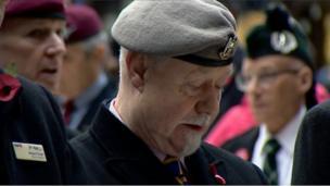 Veterans attend an Armistice Day service