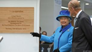 Queen Elizabeth II and Prince Philip unveil a plaque