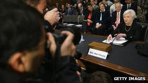 Janet Yellen and cameras