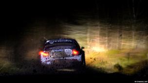 Citroen rally car at night