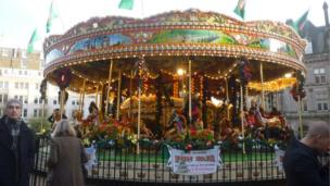 A fairground ride at the market
