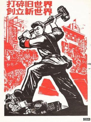 Propaganda poster from the late 1960s that says: Scatter the old world, build the new