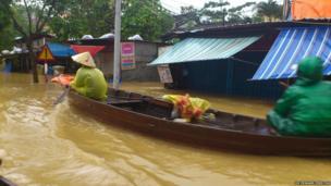 Canoe in flooded area. Photo: Dr Edward Preston