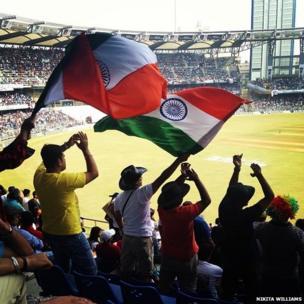 India cricket fans in Wankhede Stadium, Mumbai