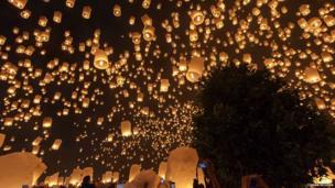 Sky lanterns. Photo: Ciaran McGinn