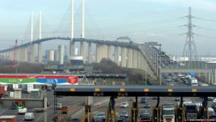 The Queen Elizabeth II bridge at the Dartford crossing of the River Thames