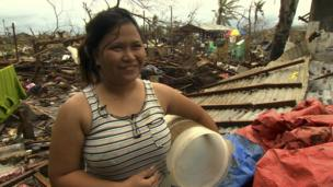 Jennica Ekay, a survivor in Pawing, devastated by Typhoon Haiyan, in Leyte, central Philippines