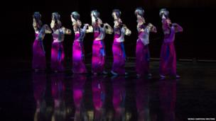 North Korean artists from Pyongyang rehearse
