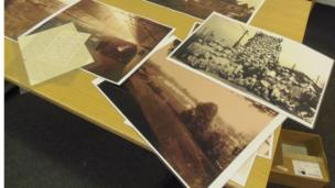 Photographs on a table