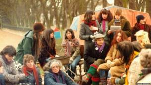 A women's peace camp at The Level in the 1980s