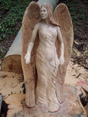 Carved wooden angel