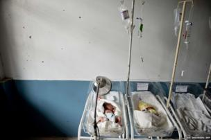 Babies are seen in their cots at the Eastern Visayas Medical Centre in Tacloban