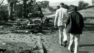 Wreckage on a country road after the attack.