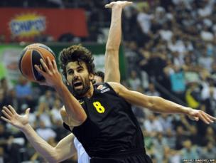 Victor Sada of FC Barcelona jumps to score