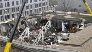 A view of collapsed Maxima supermarket in Riga, Latvia, Friday, Nov. 22, 2013
