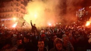 Celebrating Algerian football fans, Algiers, Algeria - Tuesday 19 November 2013