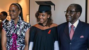From left to right: Grace Mugabe, Bona Mugabe, Robert Mugabe at a MDIS-University of Wales graduation ceremony in Singapore - Saturday 16 November 2013