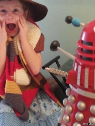 Girl with model Dalek. Photo: John Leas