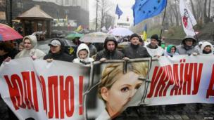 Protesters hold banner with picture of opposition leader, Yulia Tymoshenko